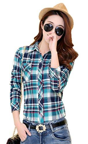 Smile YKK Chemisier Femme Manche Longue Blouse Coton Col Chemise T-shirt à Carreaux Automne Bleu Beige