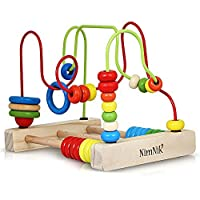 NimNik Bead Maze Wooden Toy - Classic Toys for Babies Toddlers Wooden Roller Coaster Beads Early Learning Toys for Toddlers