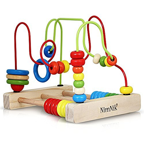 NimNik Bead Maze Wooden Toy - Classic Toys for Babies Toddlers Wooden Roller Coaster Beads Early Learning Toys for Toddlers, Essential baby toys, toys for every developmental stage, baby toys, must have baby toys, the best toys for babies, gift ideas for babies, Christmas baby gift ideas, gifts for babies