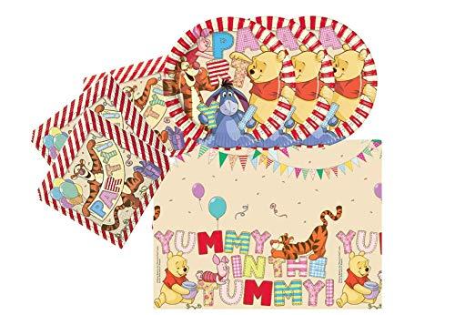 ag Feier Dekoration Set: Servietten Tischdecke große Teller 29 Teile für 8 Kinder Winnie The Pooh ()