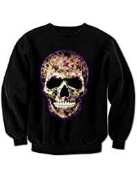 Women's Flower Skull 4 Sweatshirt Black XXL
