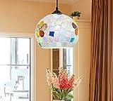 Glas Droplight Mosaik Pendelleuchten-Mittelmeer Restaurant Wohnzimmer Beleuchtung E27 Lampenschirm (Birne Nicht Enthalten)