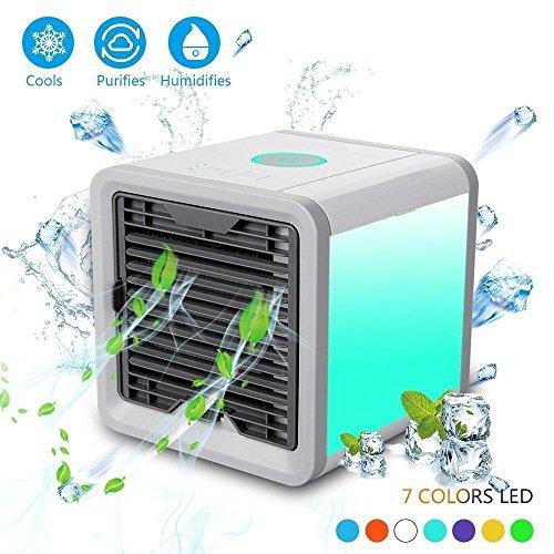 Produktbild KOBWA Tragbare Klimaanlage, Mini Klimaanlage 3 in 1 USB Mini Tragbare Klimaanlage Luftbefeuchter Luftreiniger und 7 Farben Nächte für Büro,Hotel,Garage und Haus