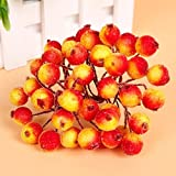 dingdangbell Multi-color Artificial Berry Flowers 40 Heads Flower Head Floral Wedding Xmas Decor 20pcs (Orange Red)