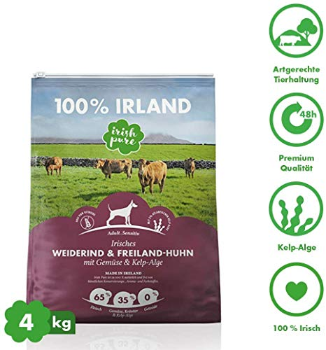 Irish Pure Adult Weiderind & Freiland-Huhn mit Kelp-Alge - Trockenfutter für Hunde, Hoher Fleischanteil, Getreidefrei, Sensitiv, Premium Hundetrockenfutter, Hundefutter für alle Rassen