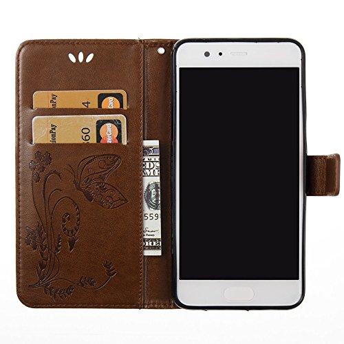 EKINHUI Case Cover Horizontale Folio Flip Stand Muster PU Leder Geldbörse Tasche Tasche mit geprägten Blumen & Lanyard & Card Slots für Huawei P10 Plus ( Color : Blue ) Brown