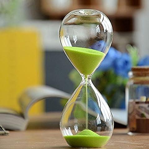 Große Mode bunten Sand Sandglass Sanduhr Timer klar Weich Maßnahmen, Glas Dekoration der Haus für Weihnachtsgeschenk oder zum Geburtstag 5 Minutes grün