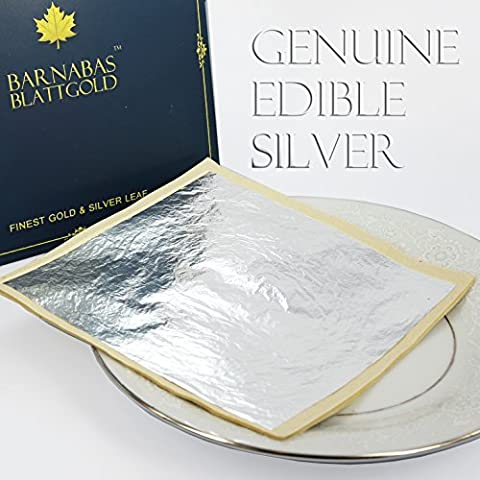 Edible Genuine Silver Leaf 50 Sheets Super Large 4-2/5 inch (110mm Losse Leaf / Interleaf) by BARNABAS
