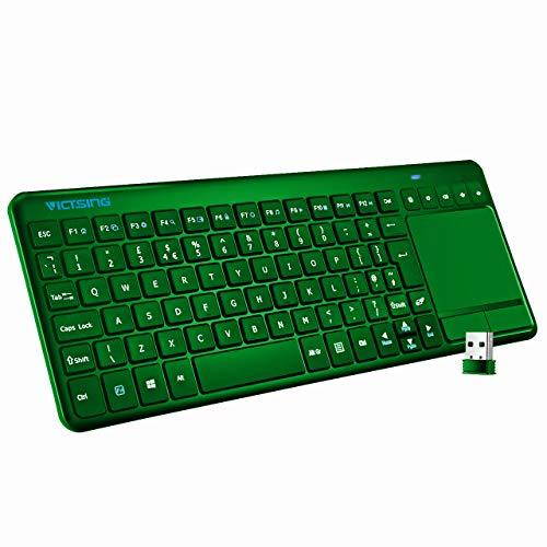 VICTSING, 2,4-GHz-Funktastatur mit Touchpad, sehr schmale All-in-One-USB-Business-Tastatur mit integriertem Multi-Touchpad, für Windows-PC, Tablet, Google Android Smart TV, HTPC, Laptop, englisches Tastaturlayout, schwarz