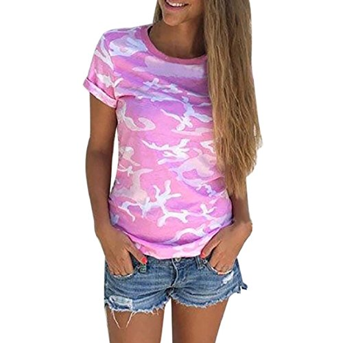 PAOLIAN Damen Frauen Bluse Casual Camouflage Kurzarm Sommer T-Shirt Tops Shirt Blusen (S, Rosa) (Drucken Camouflage Jersey)