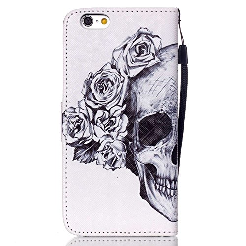 Hülle für iPhone 6 6S, Tasche für iPhone 6 6S, Case Cover für iPhone 6 6S, ISAKEN Malerei Muster Folio PU Leder Flip Cover Brieftasche Geldbörse Wallet Case Ledertasche Handyhülle Tasche Case Schutzhü Skull Blumen