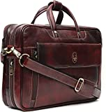 WildHorn 100 % Genuine Leather Brown 16 inch Laptop Messenger Bag