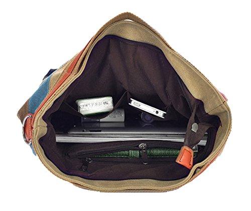 da002133ba01f ... Coofit Multi-Color-Striped Damen Handtasche Umhängetasche Schultasche  Canvas Shopper Tasch colorful 01