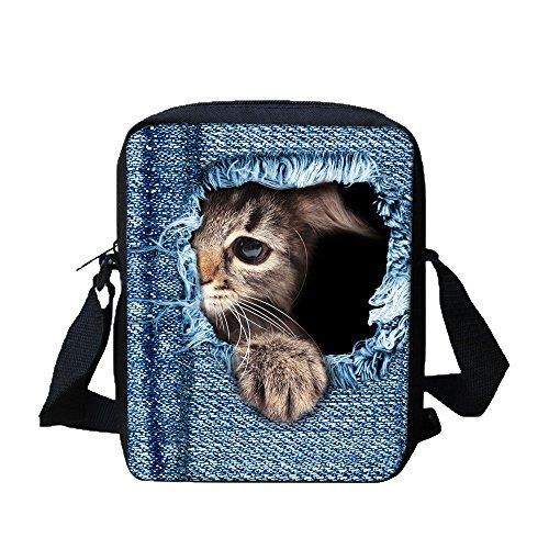 TIFIY Unisex Damen Herren Kinder 3D Drucken Niedlich Katze Kätzchen Segeltuch Schultertaschen (B) (Make-up Mini-handtasche Drucken)
