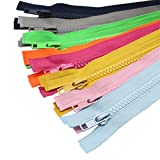 YaHoGa 10 piezas 70 cm separación chaqueta cremalleras para coser abrigo chaqueta cremallera resistente plástico cremalleras Bulk 10 colores mixtos (1 pieza por color)