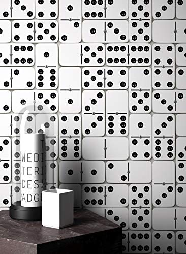 NEWROOM Tapete Weiß Domino Vliestapete Schwarz Vlies moderne Design Optik Mustertapete Geometrisch inkl. Tapezier Ratgeber (Domino-muster)