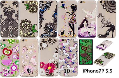 Coque iPhone 7 Plus , iPhone 7 Plus Etui TPU , CaseLover Fee et Oiseau Motif Mode Night Etui Coque TPU Slim pour Apple iPhone 7 Plus (5.5 pouces) Mode Flexible Souple Soft Noctilucent Case Couverture  Fleur de dentelle