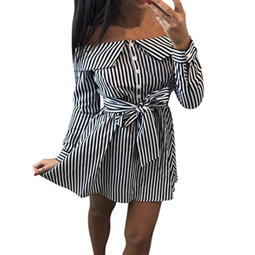 Kleid Damen Kolylong® Frauen Elegant Trägerloses Gestreift Kleid Langarm Festlich Schulterfrei Kleid Kurz T-Shirt Kleider Mini Rückenfrei Strandkleid Cocktail Party Abendkleid Top Shirt (M, Schwarz) -