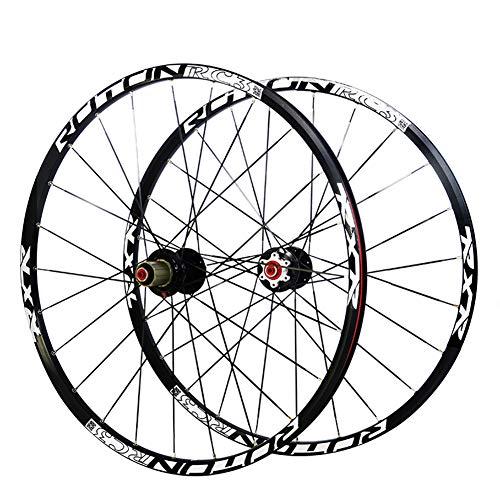 LHLCG Fahrrad Rad Aluminum Alloy Rim Carbon Fiber Hub Front 2 Rear 5 Palin Wheels Black,26