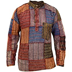 Little Kathmandu Thin parche Grandad verano Hippie Kurta camiseta de multicolor multicolor Medium