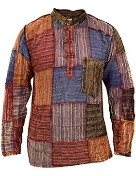 Little Kathmandu Cotone Patchwork Kurta Grandad Estate Camicia