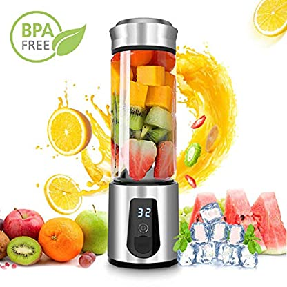 AUZKIN-Tragbarer-Mixer-Mini-Smoothie-Maker-USB-Wiederaufladbar-Juicer-Mini-Standmixer-Entsafter-mit-6-Klingen-fr-Milkshake-Smoothie-Baby-Nachrung-BPA-Frei-450ml