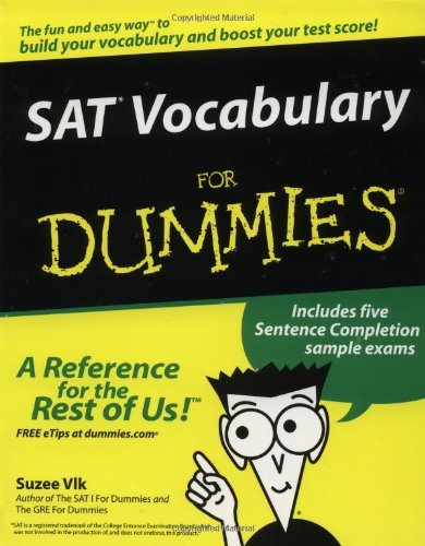 SAT Vocabulary for Dummies by Suzee Vlk (10-Mar-2003) Paperback