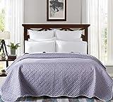 AYSW Couette 220x240cm Légère en été Couvre lit Couverture Dessus de Lit Bicolore Gris Foncé+Gris Clair