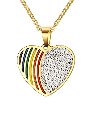 Vnox Gay Lesbian LGBT Stainless Steel Crystal Rainbow Pride Heart Tag Pendant Necklace Gold,Free Chain