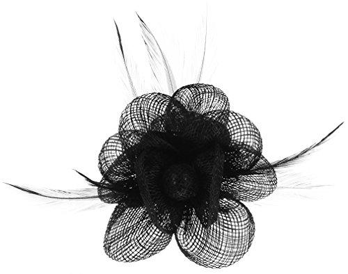 Lukis Mini Hut Damen Fascinator Haar Clip Haarschmuck Haarspange für Kostüm Karneval Fasching Durchmesser 9cm Schwarz