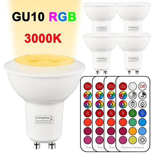 4Pack Decke Scheinwerfer Chrom LED RGB Weiß Licht Deckenleuchte Panel Bunte Beleuchtung Dimmbare GU10 Birnen 3W 3000K mit Fernbedienung (rgb 3000k)
