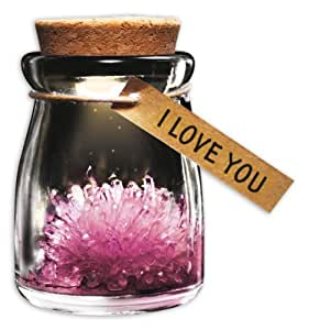 Wunschblume aus Kristall I Love You aus Glas,Pink