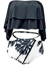 ASSKDAN FemmeTankini 2 Pieces Haut Blanc Volant Maillot de bain Shorty Taille Haute imprimé à Feuille