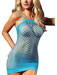 LAEMILIA Femme Robe Mini Bustier Sans Manche Vêtement de Nuit Babydoll Nuisette Pyjamas Ensemble de Lingerie Clubwear