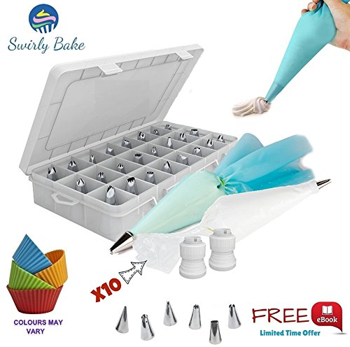 CAKE DECORATING 50 PIECE SET: 30 Stainless Steel Piping / Icing Nozzles Tips with Storage Case, 2 Reusable Piping Bags, 2 Couplers, 10 Disposable Piping Bags and 4 Silicone Cupcake Moulds || An EXCLUSIVE e-Book Included || The Ultimate Cake Decorating Bundle - Perfect for Cakes, Cupcakes, Baking Cookies and Pastries