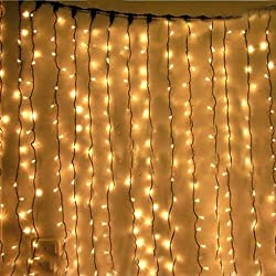 Kk-light Kkgud 3m X 3m 300 Led Indoor Outdoor Led Curtain Light For Party Christmas Hotel Festival Curtain Light With 8 Controllable Modes Ip44 Rated- Warm White