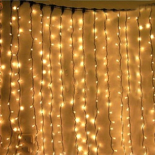KK-LIGHT KKgud 3M x 3M 300 LED Outdoor Indoor LED Curtain luce per la festa di Natale Hotel Festival barriera di 8 controllabile modi IP44 Rated- Warm White
