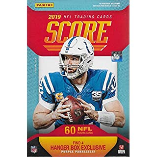 Score 2019 Football Factory Sealed Hanger Box with 60 Cards including 4 Exclusive Purple Parallels and 12 Rookie Cards in each Box and Chance For Autographs of Kyler Murray and Dwayne Haskins Plus