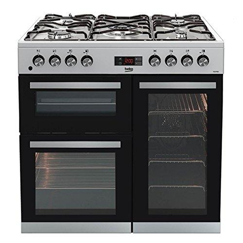 Beko KDVF90X 90cm Dual Fuel Range Cooker in Stainless Steel 5 Hotplate Burners