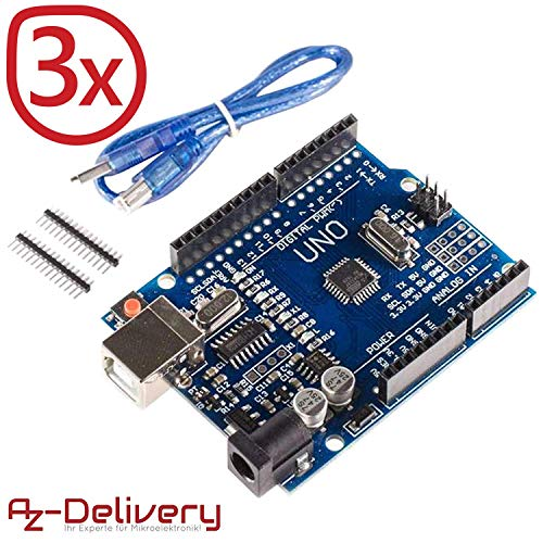 AZDelivery ⭐⭐⭐⭐⭐ 3 x Scheda Uno R3 con Cavo USB, Compatibile al 100% con Arduino Uno R3 e con eBook Gratuito!