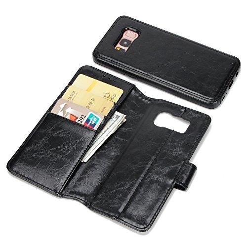 BCIT Samsung Galaxy S8 Leder Handytasche - Geldbörse mit Kartenfach abnehmbar Magnet Handy Schutzhülle für Samsung Galaxy S8 - Rot Schwarz