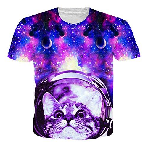 Loveternal Unisex 3D Raum Katze Druckten T-Shirt Sommer Casual Grafik Kurzarm Tops Tees S (T-shirts Katze)