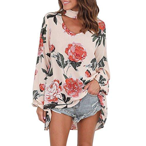 Petalum Damen Bluse Elegant Langarm Choker Blumen Druck V-Ausschnitt Lose Tunika Bluse Top Shirt (Top Tunika)