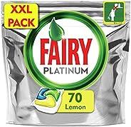 Fairy Platinum 70 Pastiglie per Lavastoviglie, Detersivo in Confezione XXL da 70 Caps, Limone