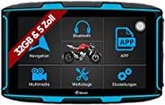 Elebest Navigationsgerät Rider A6 Pro, Navigation für Motorrad und PKW, 5 Zoll Bildschirm Android 6.0 - Blueto