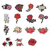 Souarts 18 St Aufnäher Rose Blumen Patch Applikationen zum aufbügeln DIY Aufbügler