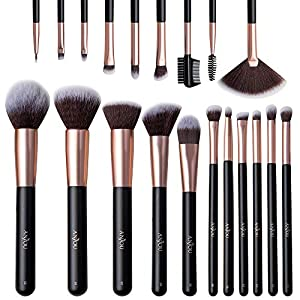Make Up Pinsel Anjou Professionelles Schminkpinsel Set 20pcs Foundation Blending Erröten Eyeliner Gesichtspuder Pinsel Lidschatten Rosegold mit Reisetasche