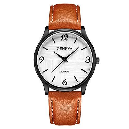 uhren for herren Schlichte und elegante arabische Digitaluhr mit Lederarmband(C)