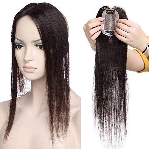 Haarteil Toppr Remy Echthaar Clip in Extensions Haarverlängerung Pony Toupee Frauen Toupet Dunkelbraun#2 16