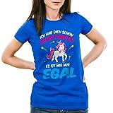 CottonCloud Ich hab dich schon verstanden - es ist mir nur egal Damen T-Shirt Einhorn Unicorn, Farbe:Blau;Größe:XS